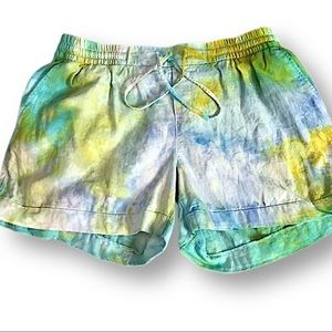 Hand tie dyed rayon linen shorts L